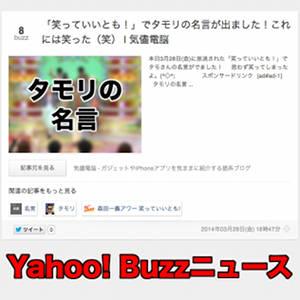 ブログのアクセス数が急に増えたと思ったら「Buzzニュース」に載ってたんだ!タモリ恐るべし