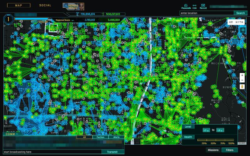 Ingress Intel Map kyoto (2016/07/18)