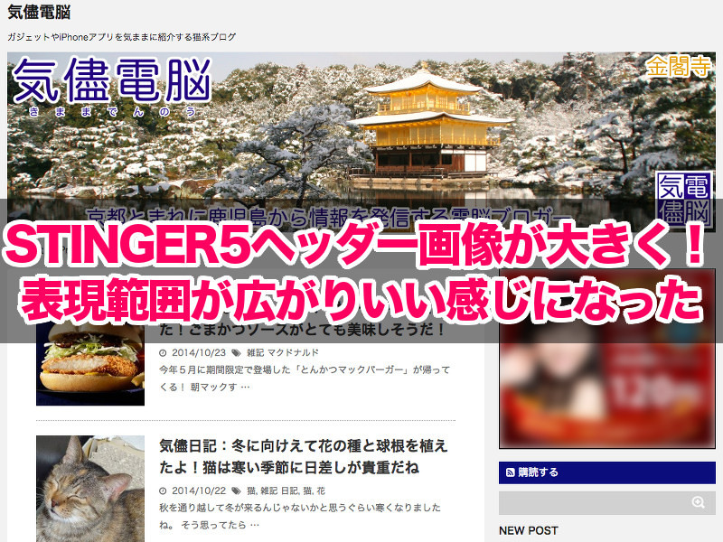 STINGER5のヘッダー画像が大きく!