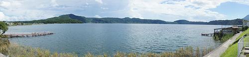 池田湖をパノラマ撮影
