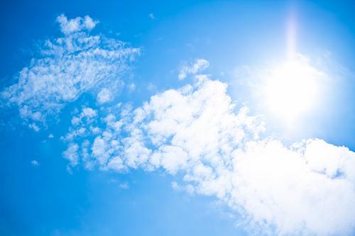 真夏日の日差しと青空